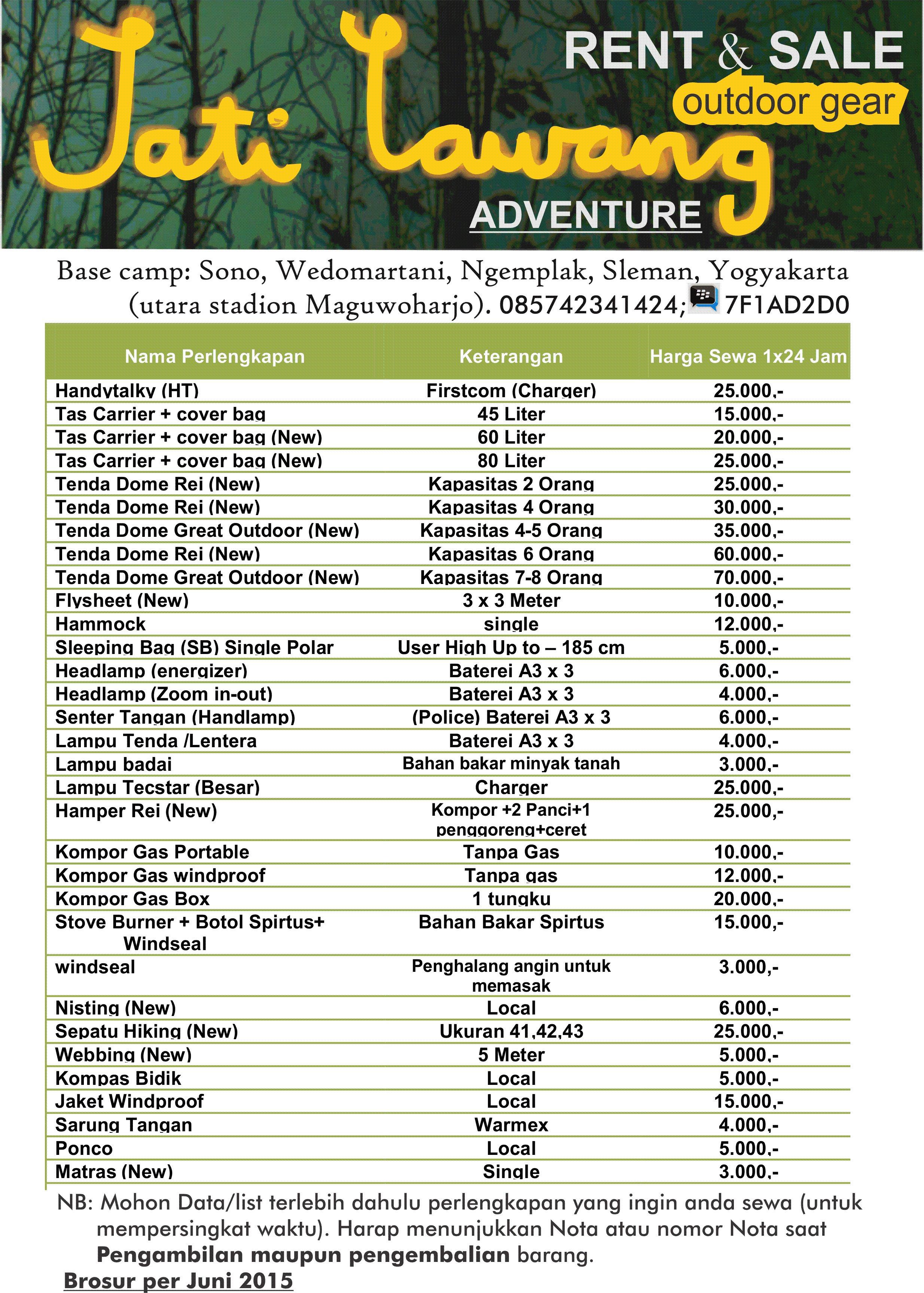 List Harga Sewa Alat Outdoor Jatilawang Adventure Yogyakarta Jatilawang Adventure